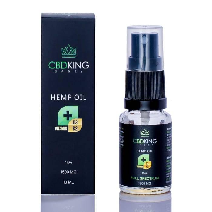 olej konopny cbd king 15% zawiera w swoim składzie witaminy d3 i k2 a jego bazą jest olej MCT