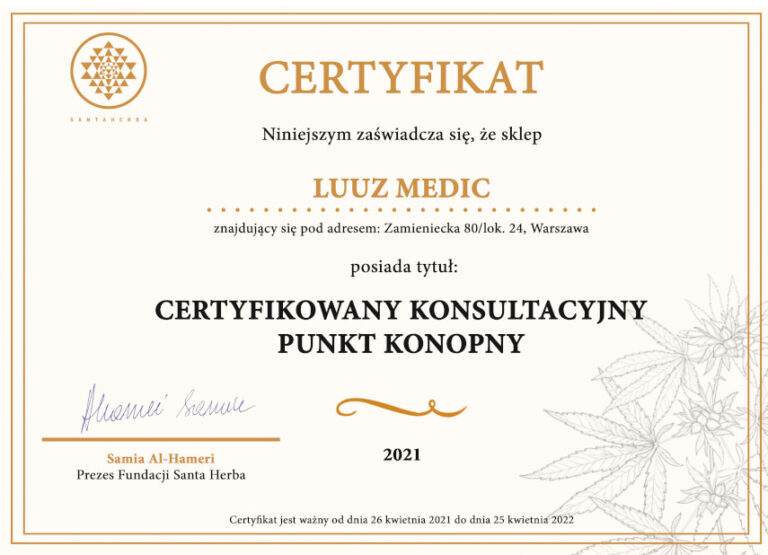 Sklepy LUUZ MEDIC zostały Certyfikowanymi Konsultacyjnymi Punktami Konopnymi
